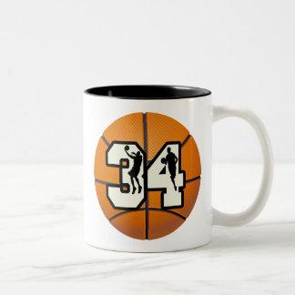 Number 34 Basketball Two-Tone Coffee Mug