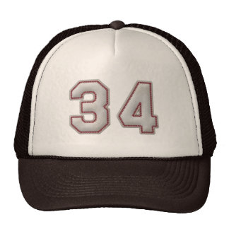 Number 34 with Cool Baseball Stitches Look Trucker Hat