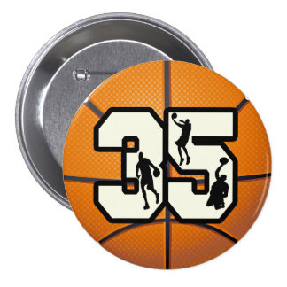 Number 35 Basketball 3 Inch Round Button