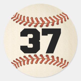 Number 37 Baseball Classic Round Sticker