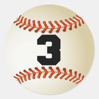 Number 3 Baseball Classic Round Sticker