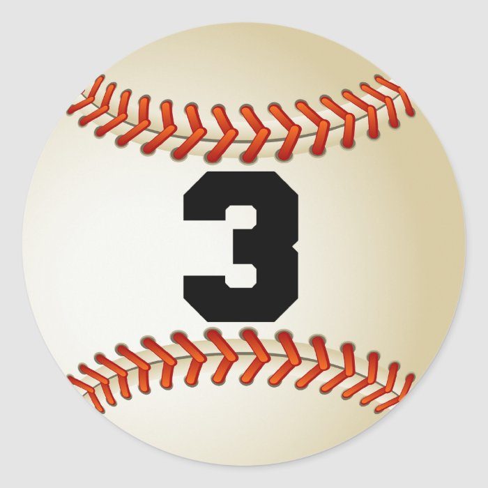 Number 3 Baseball Classic Round Sticker