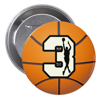 Number 3 Basketball and Player 3 Inch Round Button