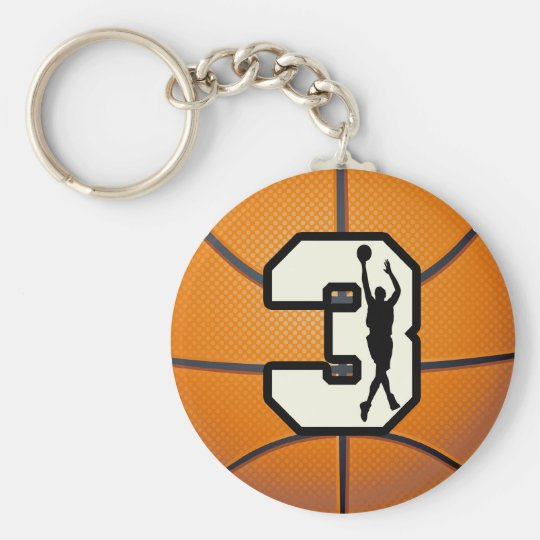 Number 3 Basketball and Player Keychain