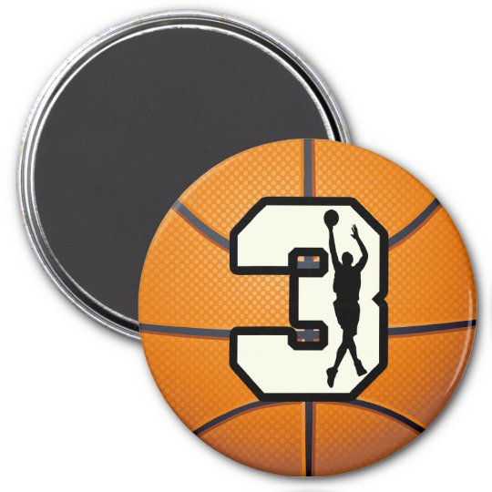 Number 3 Basketball and Player Magnet