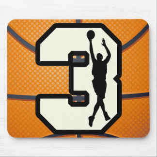 Number 3 Basketball and Player Mouse Pad