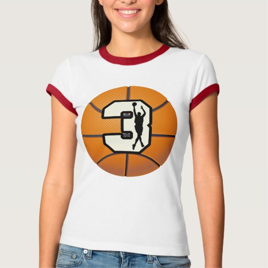 Number 3 Basketball and Player T-Shirt