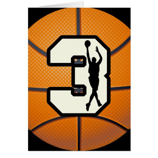 Number 3 Basketball and Players Greeting Card