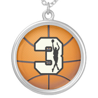 Number 3 Basketball and Players Silver Plated Necklace
