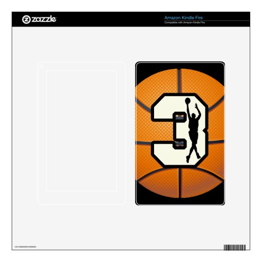 Number 3 Basketball Kindle Fire Decals