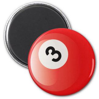 NUMBER 3 BILLIARDS BALL 2 INCH ROUND MAGNET