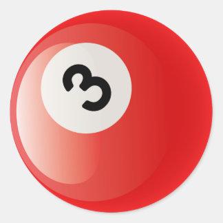 NUMBER 3 BILLIARDS BALL CLASSIC ROUND STICKER