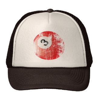NUMBER 3 BILLIARDS BALL - ERODED AND AGED STYLE TRUCKER HATS