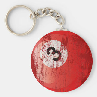 NUMBER 3 BILLIARDS BALL - ERODED AND AGED STYLE KEYCHAIN