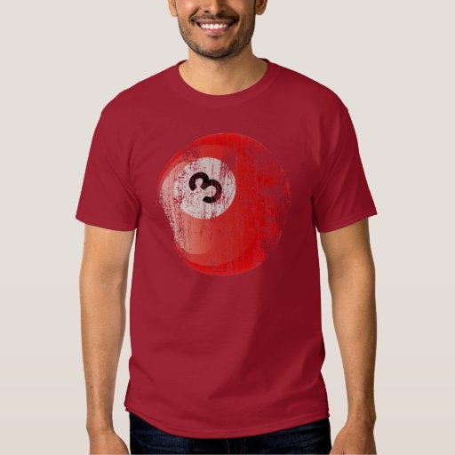 NUMBER 3 BILLIARDS BALL - ERODED AND AGED STYLE T SHIRTS