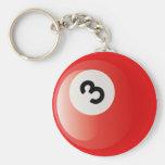 NUMBER 3 BILLIARDS BALL KEYCHAIN