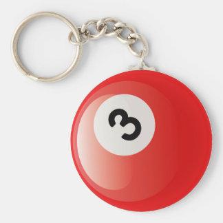 NUMBER 3 BILLIARDS BALL BASIC ROUND BUTTON KEYCHAIN