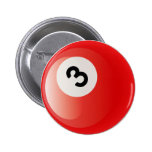 NUMBER 3 BILLIARDS BALL PINBACK BUTTON