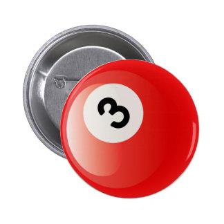 NUMBER 3 BILLIARDS BALL PINBACK BUTTON
