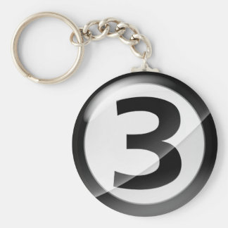 Number 3 black Key Chain