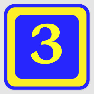 number 3, blue background, yellow frame square sticker