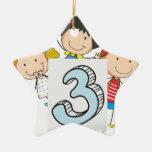 Number 3 ceramic ornament