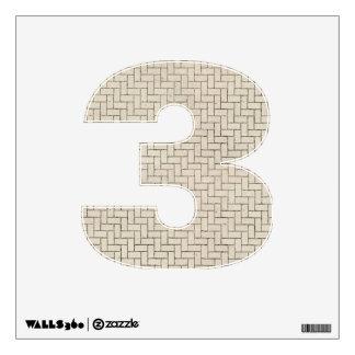 Number 3 Decal - Herringbone Brick Pattern Wall Decals