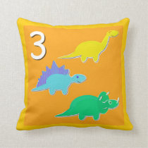 Number 3 Dinosaurs Numbers 1 - 10 Count Throw Pillow