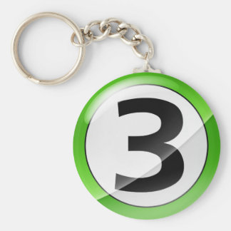 Number 3 green keychain