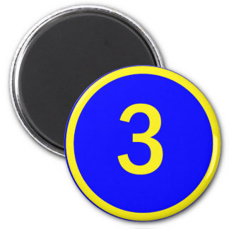 number 3 in a circle magnet