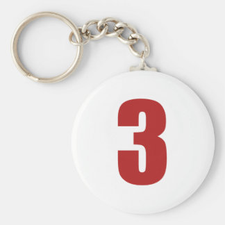Number 3 in red on white button keychain