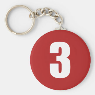 Number 3 in white on red button keychain