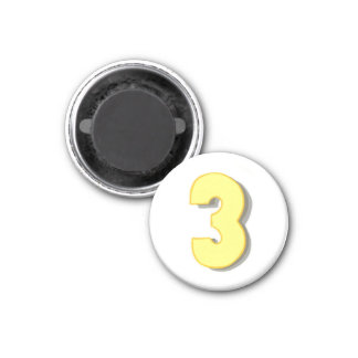 Number 3 in yellow and gray on magnets