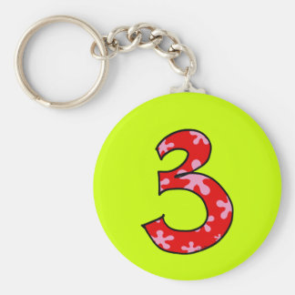 Number 3 keychain