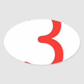 Number 3 oval sticker