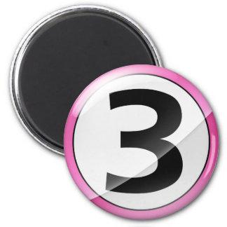 Number 3 pink Magent 2 Inch Round Magnet