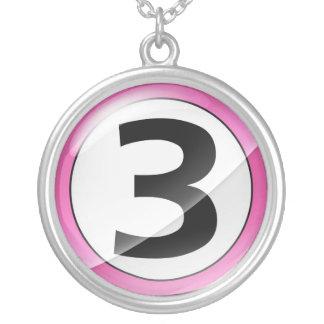 Number 3 pink necklace
