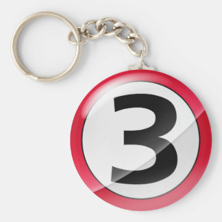 Number 3 red keychain