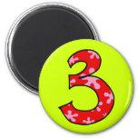 Number 3 refrigerator magnet