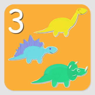 Number 3 Three Dinosaurs Counting Square Sticker