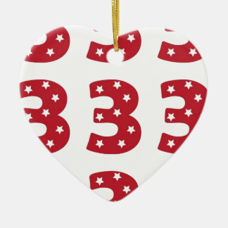Number 3 - White Stars on Dark Red Christmas Tree Ornament