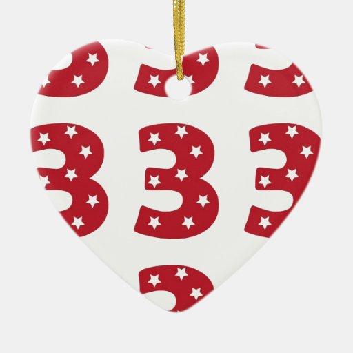 Number 3 - White Stars on Dark Red Christmas Tree Ornament