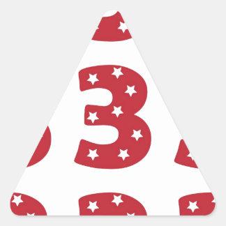 Number 3 - White Stars on Dark Red Triangle Sticker