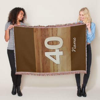 Number 40 on wooden background throw blanket