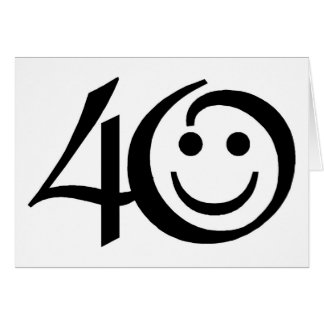 Number 40-With Happy Face Birthday Greeting Cards