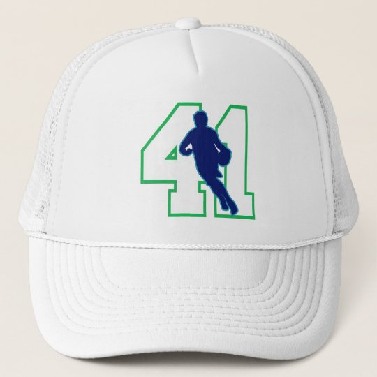 NUMBER 41 WITH BASKETBALL PLAYER TRUCKER HAT