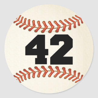 Number 42 Baseball Classic Round Sticker
