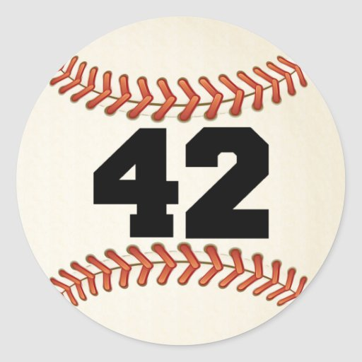 Number 42 Baseball Classic Round Sticker