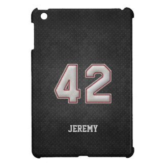 Number 42 Baseball Stitches with Black Metal Look Case For The iPad Mini
