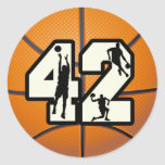 Number 42 Basketball Classic Round Sticker
